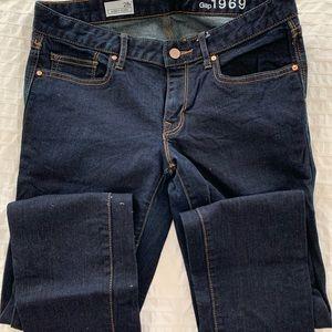 Like new Gap always skinny dark denim jeans sz 28